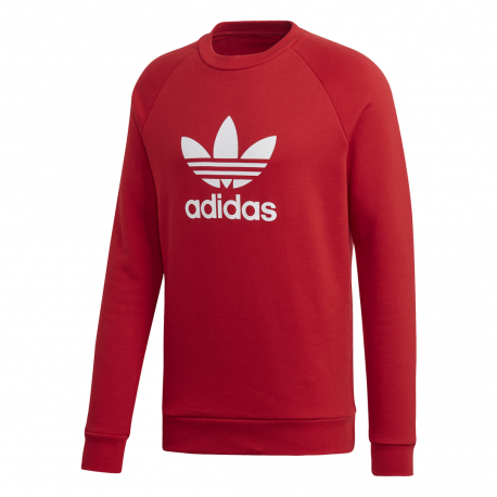 Adidas Originals Felpa Trefoil Girocollo Rosso Uomo