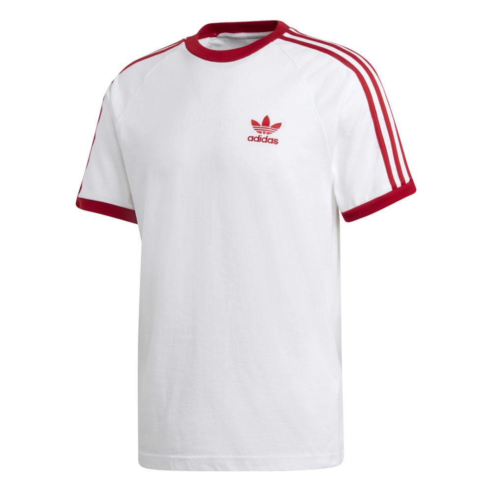 ADIDAS originals t shirt 3 stripes bianco rosso uomo