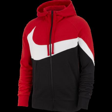 Nike Sportswear Felpa Con Cappuccio E Zip French Terry Rosso Bianco Uomo