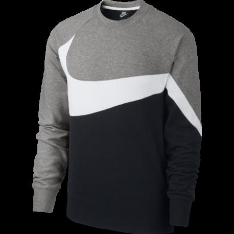 Nike Sportwear Felpa Girocollo French Terry Nero Bianco Uomo