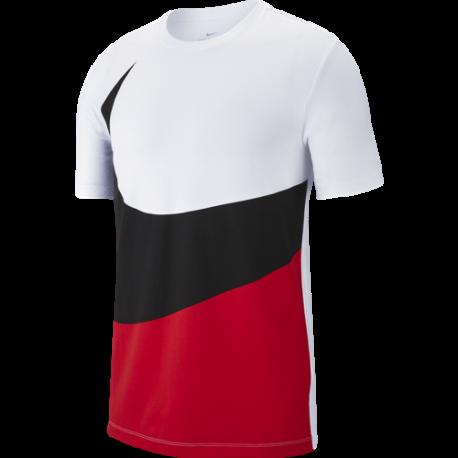 Nike Sportswear T-Shirt Swoosh Bianco Rosso Uomo