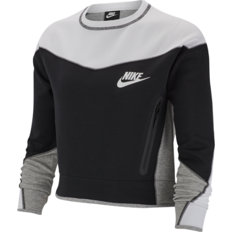 Nike Sportswear Felpa Girocollo Tech Fleece Nero Bianco Donna