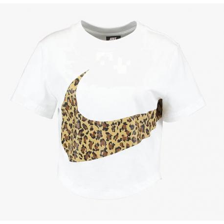 Nike Sportswear Crop Top Swoosh Animalier Bianco Donna