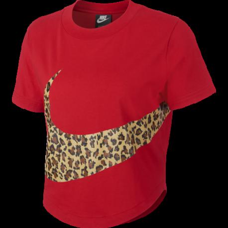 Nike Sportswear Crop Top Swoosh Animalier Rosso Donna