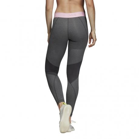 ADIDAS leggings sportivo alphaskin sport grigio rosa donna
