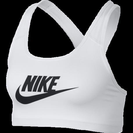 Nike Reggiseno Sportivo DriFit Classic Swoosh Futura Bianco Donna