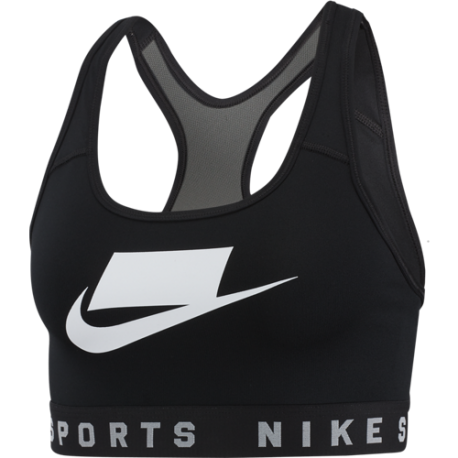 Nike Reggiseno Sportivo Mesh Back Swoosh Nero Donna