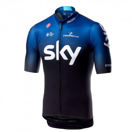 Castelli Maglia Ciclismo Squadra Team Sky Nero Blu Uomo