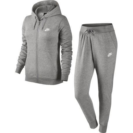 Nike Tuta Felpa Cap/Zip Grigio Donna