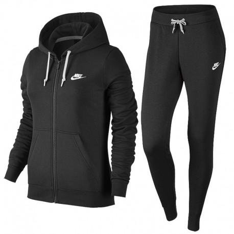 Nike Tuta Felpa Cap/Zip Nero Donna