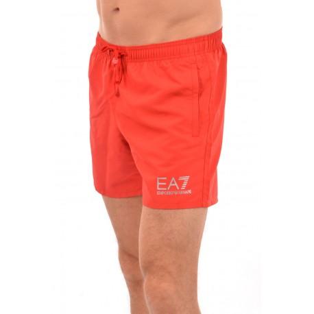 Ea7 Costume Boxer Medio Scritta In Basso Rosso Uomo