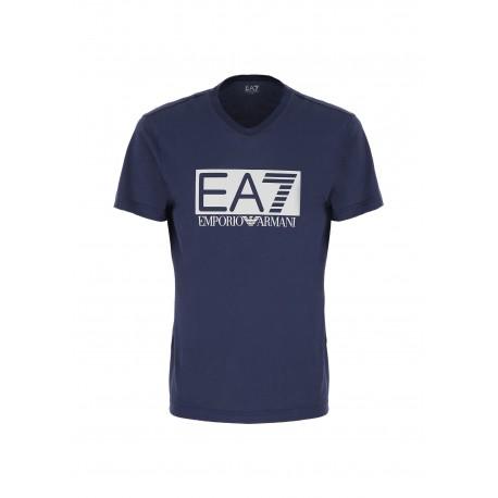 Ea7 T-Shirt Mare Logo Elasticizzata Blu Uomo