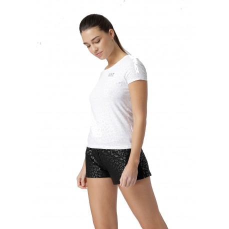 Ea7 T-Shirt Mare Fantasia Animalier Bianco Donna