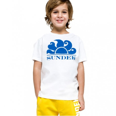 Sundek T-Shirt Mare Logo Tinta Unita Bianco Bambino
