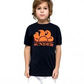 Sundek T-Shirt Mare Logo Tinta Unita Blu Bambino