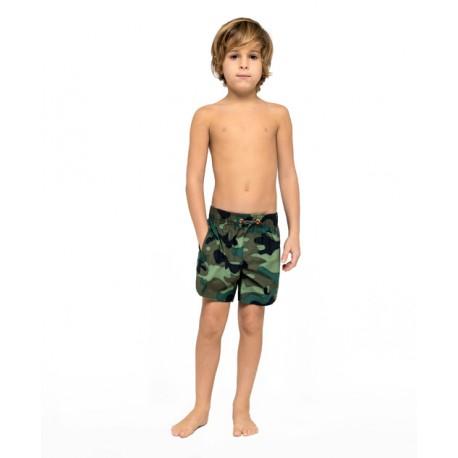 Sundek Costume Boxer Con Elastico Verde Camou Bambino