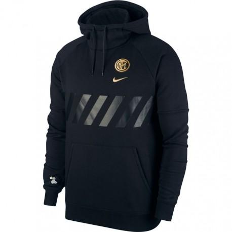 Nike Felpa Calcio Cappuccio Inter Flc Nero Oro Uomo