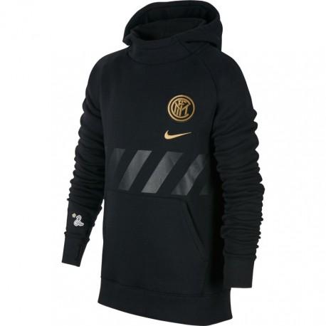 Nike Felpa Calcio Cappuccio Inter Flc Nero Oro Bambino