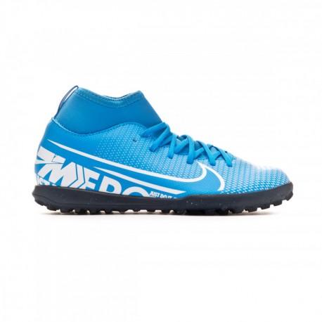 Nike Scarpe Da Calcio Superfly 7 Club Tf Blu Bianco Bambino