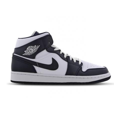 Nike Sneakers Air Jordan 1 Mid Blu Bianco Uomo
