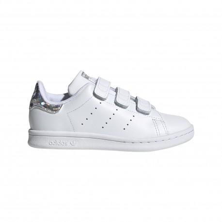 ADIDAS originals sneakers stan smith cf c ps bianco argento bambino