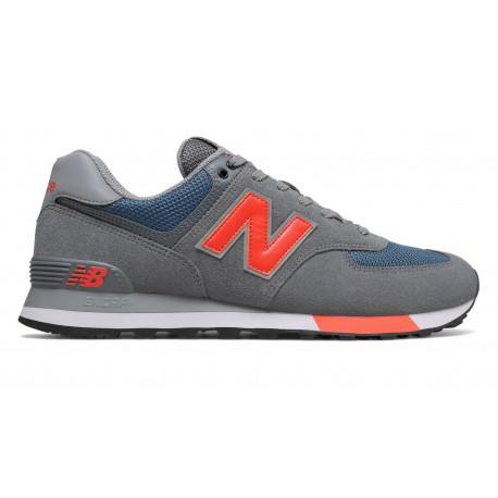 New Balance Sneakers Nb 574 Mesh Grigio Rosso Uomo