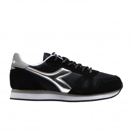 Diadora Sneakers Simple Run Nero Argento Donna
