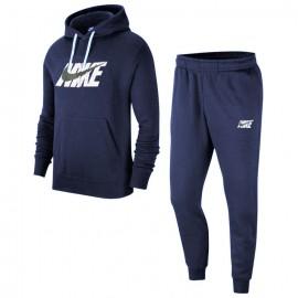 Nike Tuta Sportiva Con Cappuccio Logo Blu Uomo