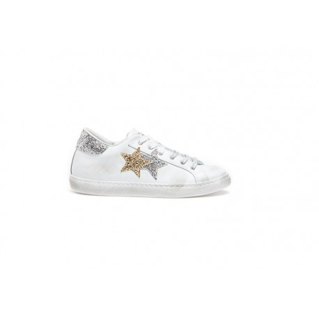 2stars Sneakers Glitter Bianco Argento Donna