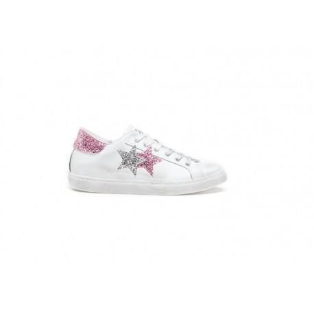 2stars Sneakers Glitter Rosa Argento Donna