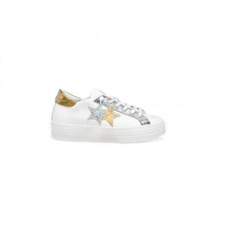 2stars Sneakers Platform Argento Donna
