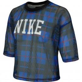 Nike Maglietta Palestra Mesh Blu Donna