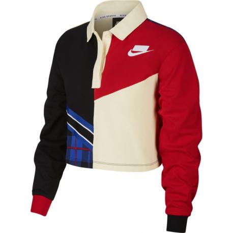 Nike Polo Manica Lunga Rosso Donna
