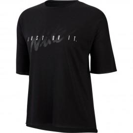 Nike Maglietta Palestra Logo Nero Donna