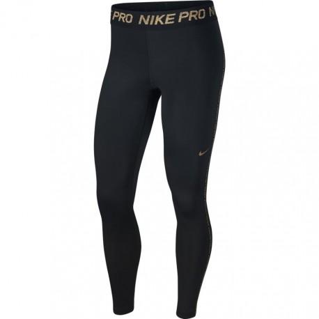 Nike Leggings Sportivi Scritta Oro Nero Donna