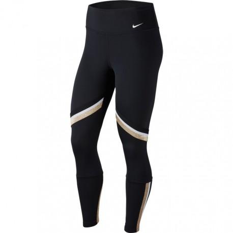 Nike Leggings Sportivi Fascia Nero Oro Donna