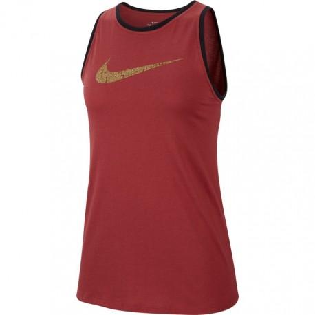 Nike Canotta Palestra Swoosh Oro Bordeaux Donna