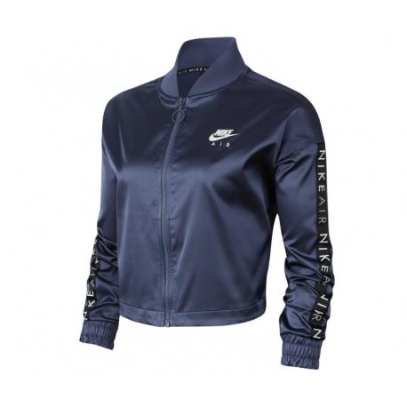 Nike Felpa Palestra Zip Satin Blu Donna