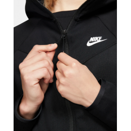 Nike Felpa Full Zip E Cappuccio Tech Fleece Nero Donna