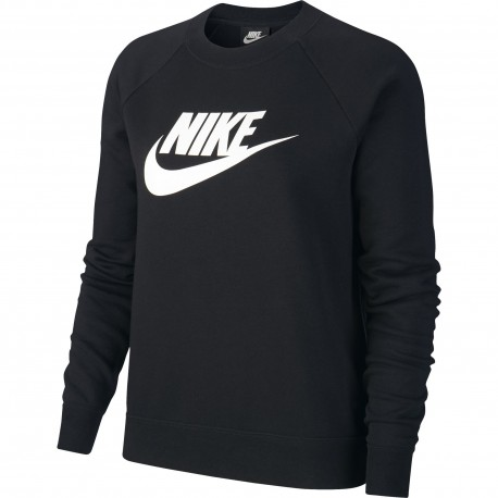 Nike Felpa Palestra Girocollo Logo Nero Donna