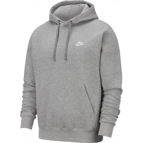 Nike Felpa Palestra Con Cappuccio Logo Piccolo Grigio Uomo