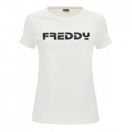 Freddy Maglietta Palestra Logo Bianco Donna