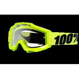100% Maschera Antivento Bici Accuri Fluo Giallo Clear Lens