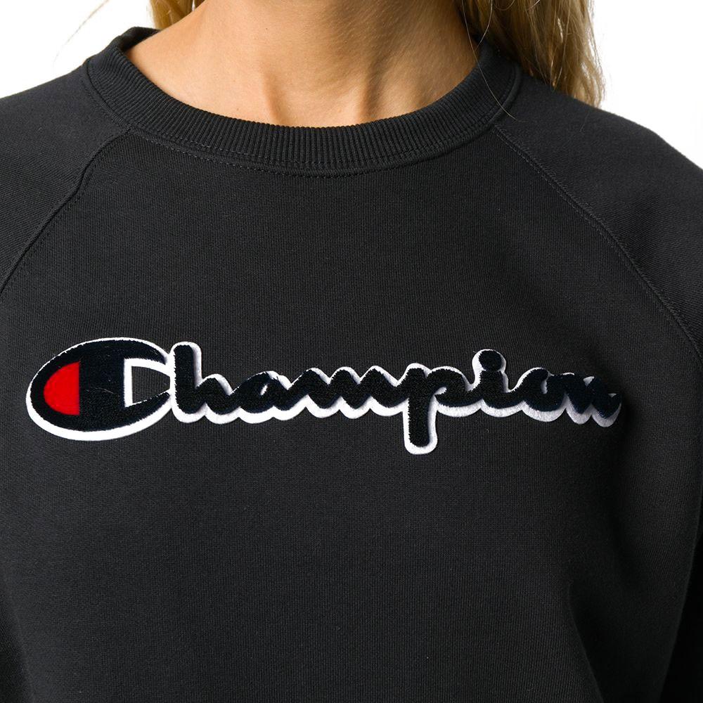 Champion Felpa Palestra Girocollo Logo Nero Donna Acquista