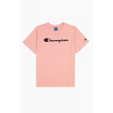 Champion Maglietta Palestra Logo Manica Corta Rosa Donna