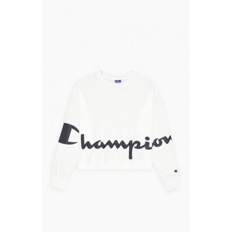 Champion Felpa Palestra Girocollo Crop Bianco Donna