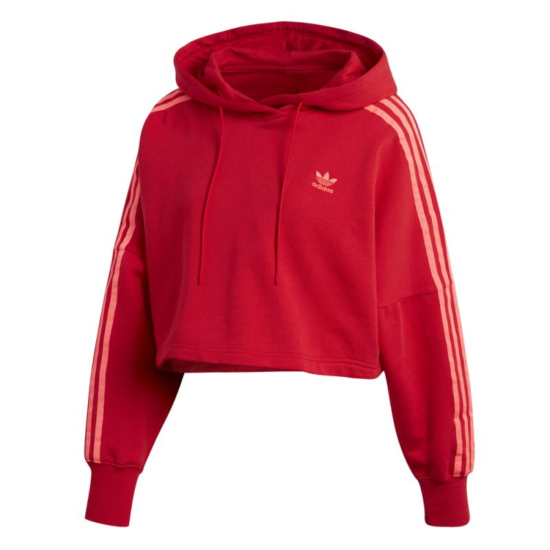 ADIDAS originals felpa con cappuccio triband rosso donna