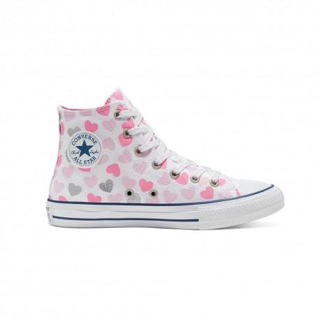 Converse Sneakers Chuck Taylor All Star Hi (4-12 A) Bianco Rosa Bambino