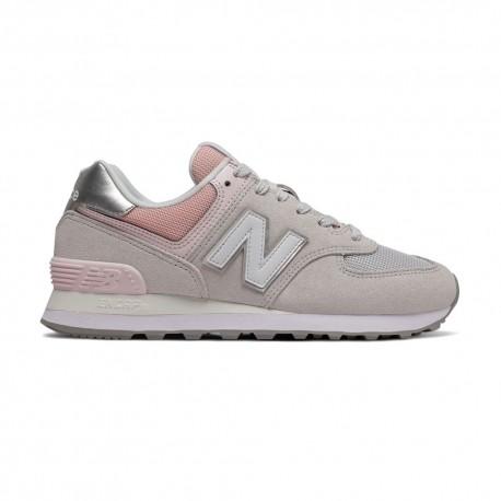 New Balance Sneakers 574 Suede Mash Grigio Rosa Donna