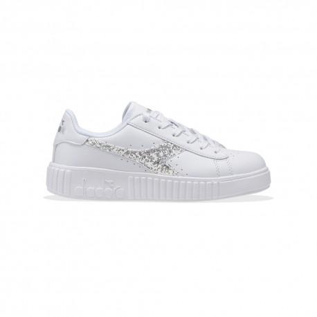 Diadora Sneakers Game Step Gs Bianco Argento Bambino
